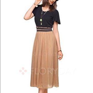 Dresses & Skirts - NWOT Black and Camel Midi Dress - Never Worn